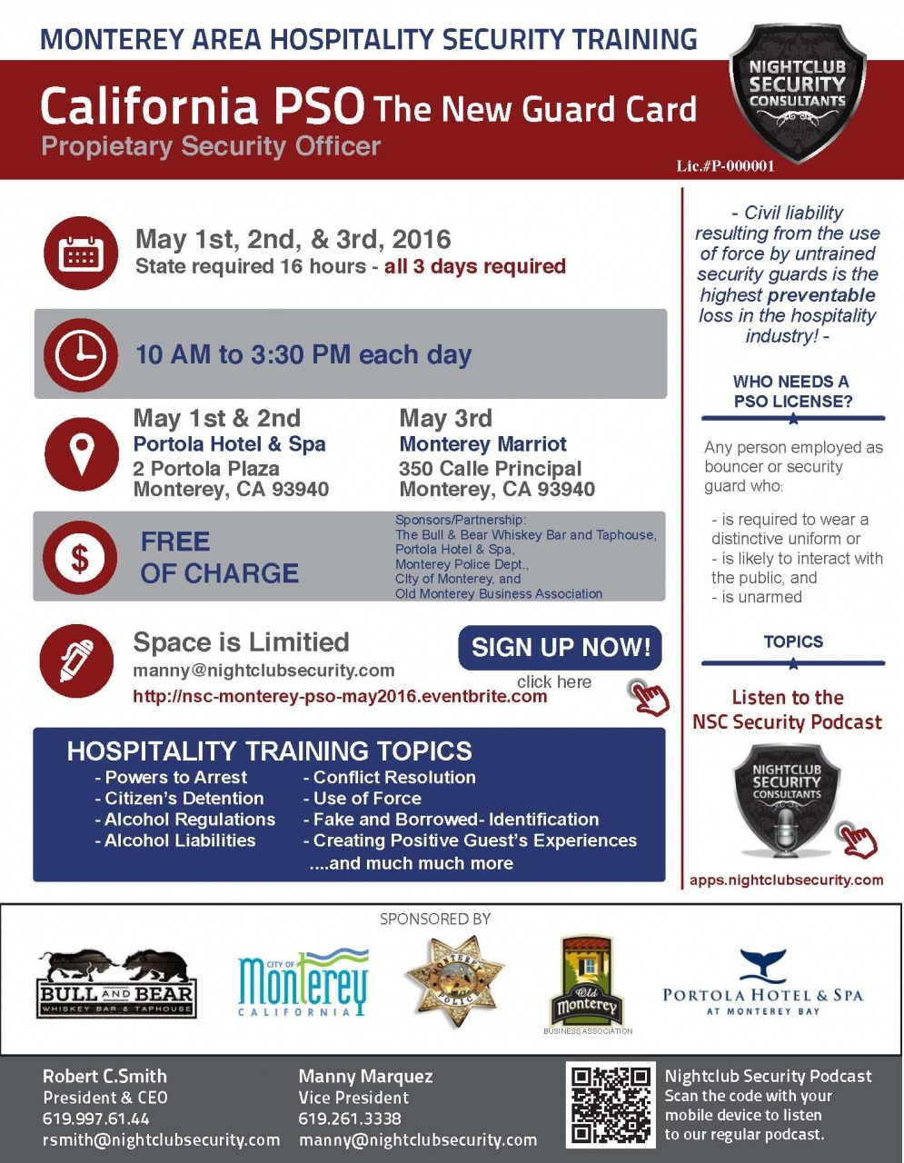 Monterey Area Hospitality Security Training (begins) | Old